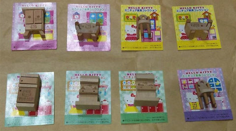 Eikoh Sanrio Hello Kitty 8 Wooden Furniture Mini Trading Figure Set Used