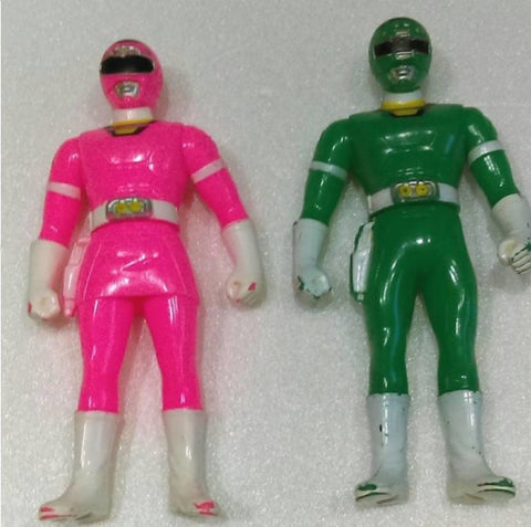 Bandai 1996 Power Rangers Turbo Carranger 2 Green Pink Soft Vinyl Action Figure Used