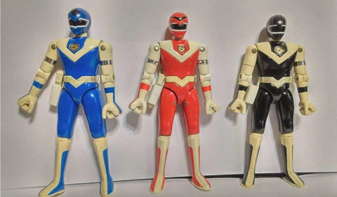 Bandai Power Rangers Maskman Chogokin Mask Red Blue Black 3 Fighter Action Figure Set Used