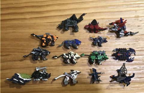 Tomy Zoids Gashapon Trading Collection 15 Mini Figure Set Used