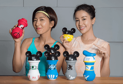 "Disney 7-11 Taiwan Limited Summer Sport Mickey Mouse 5 8"" Soft Vinyl Water Bottle Set"