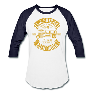 Hot Rod Baseball Tee - white/navy