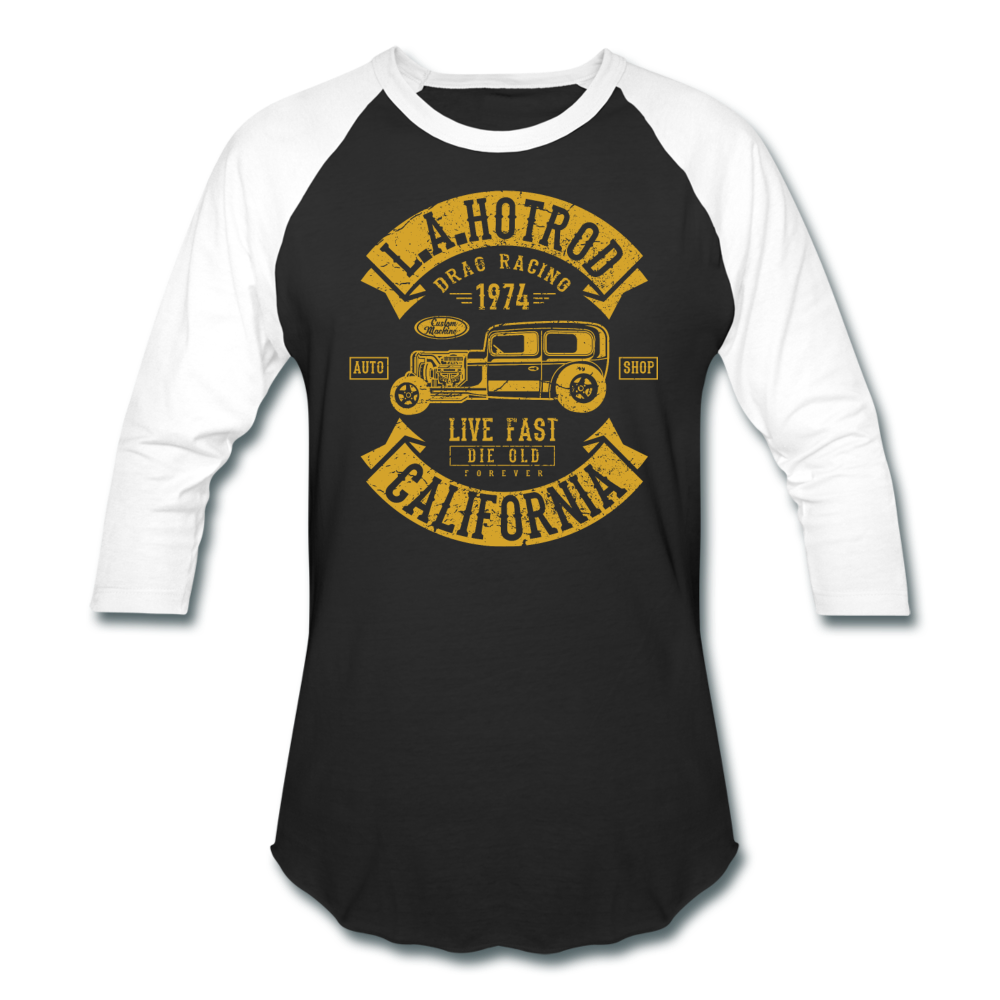 Hot Rod Baseball Tee - black/white