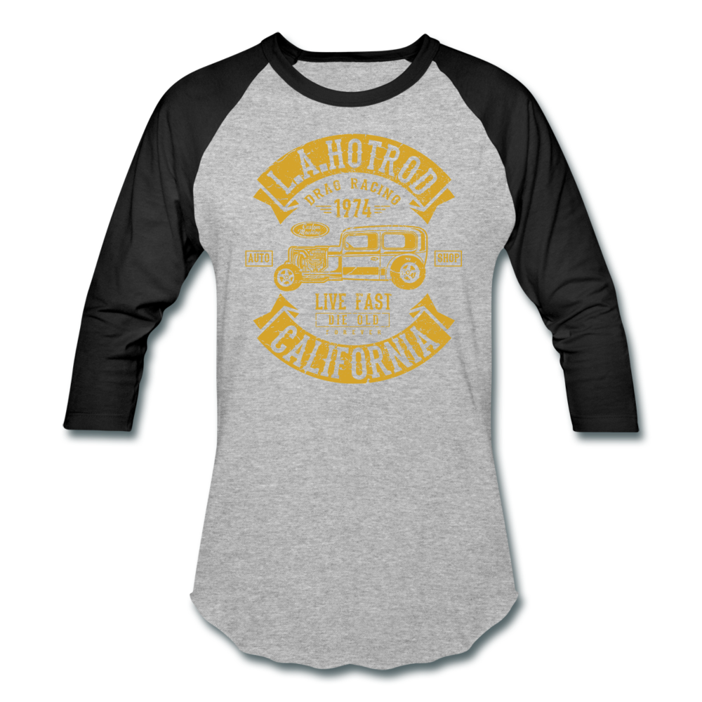 Hot Rod Baseball Tee - heather gray/black