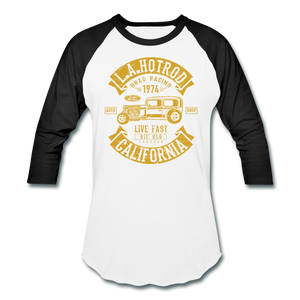 Hot Rod Baseball Tee - white/black