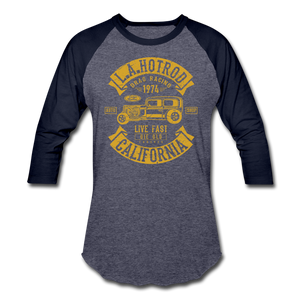 Hot Rod Baseball Tee - heather blue/navy