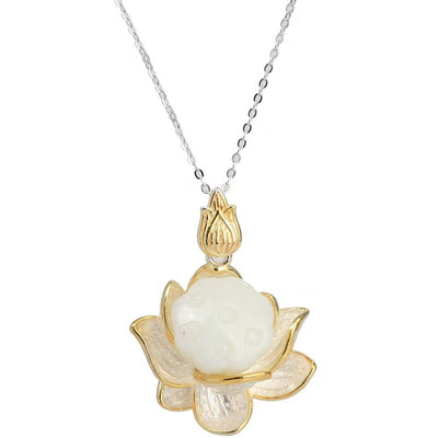 Elegant Lotus White Jade Necklace