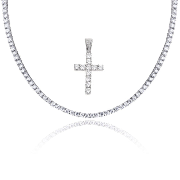 Tennis Chain Cross Necklace