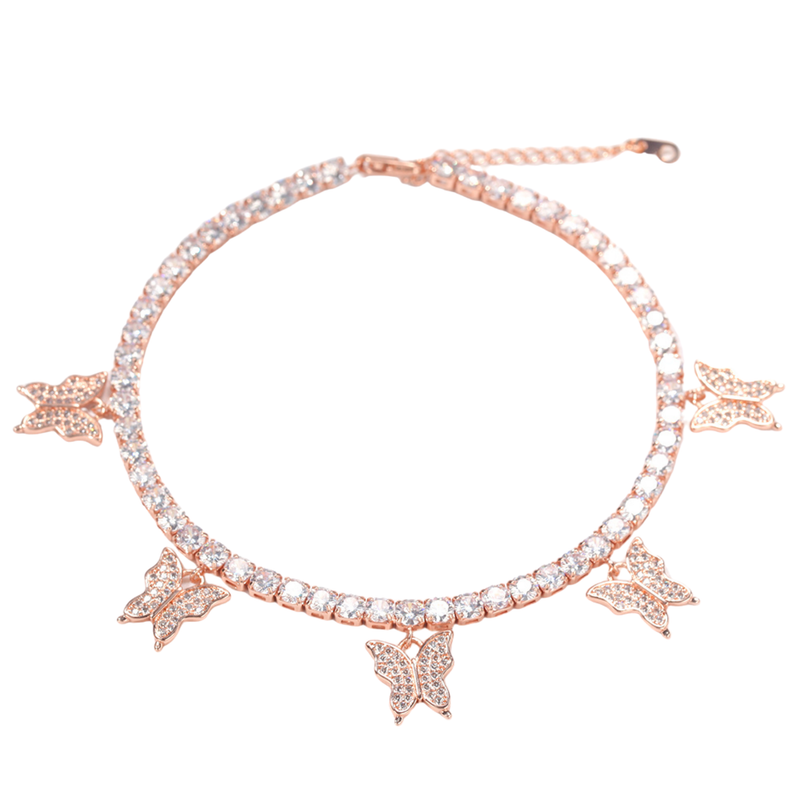 Rose Gold Tennis Butterfly Anklet