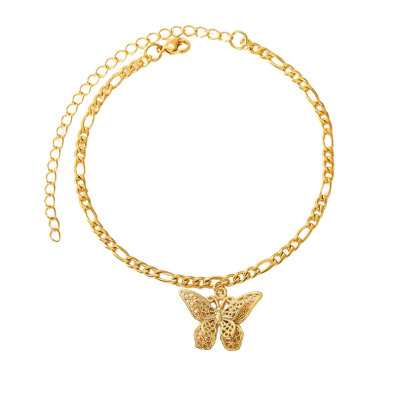 Double Butterfly Gold Anklet