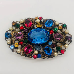 Giant Multicolor Rhinestone Brooch