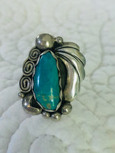 Load image into Gallery viewer, Native American Made Sterling Silver and Turquoise Ring Size 7.5