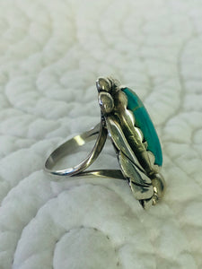 Native American Made Sterling Silver and Turquoise Ring Size 7.5