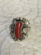 Load image into Gallery viewer, Native American Coral and Sterling Silver Ring Size 5.5