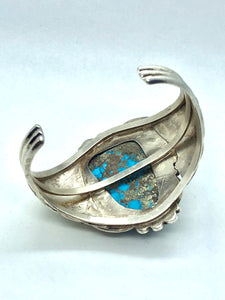 Sterling silver and Turquoise Native American Made Statement Bracelet