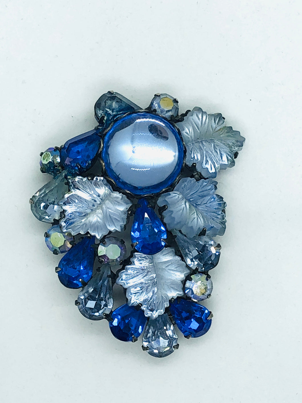 1950's Blue Ice Rhinestone Brooch
