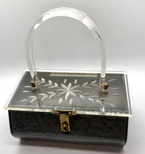 Load image into Gallery viewer, 1950's Marbled Gray Carved Lucite Box Purse