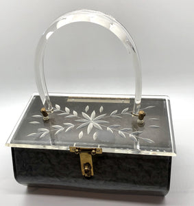 1950's Marbled Gray Carved Lucite Box Purse