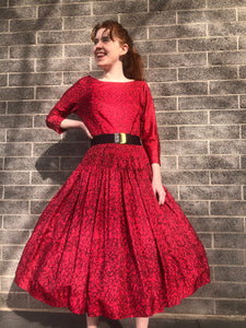 1950's Red and Black Abstract Print Party Dress SIZE M/L