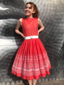 1950's Embroidered Cotton Coral Summer Dress