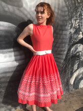 Load image into Gallery viewer, 1950's Embroidered Cotton Coral Summer Dress