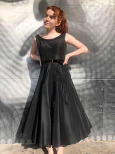 1950's Suzy Parette Black Taffeta Party Dress