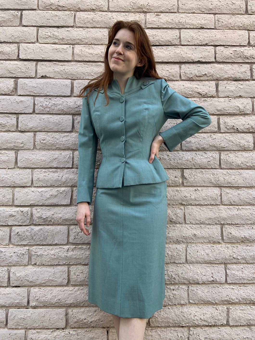 1940s Seafoam Green Two Piece Skirt Suit