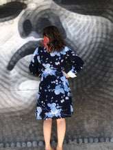 Load image into Gallery viewer, 1960's Blue Floral Secretary Dress