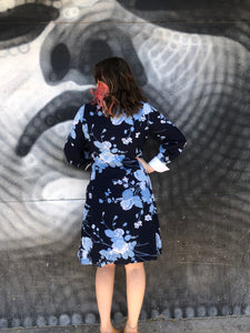 1960's Blue Floral Secretary Dress