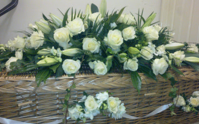 coffin spray  white rose and lily