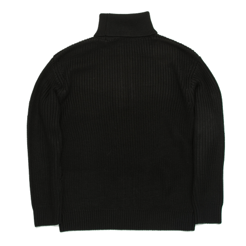 Cassidagne Polo Neck Cable Knit Sweater, Black