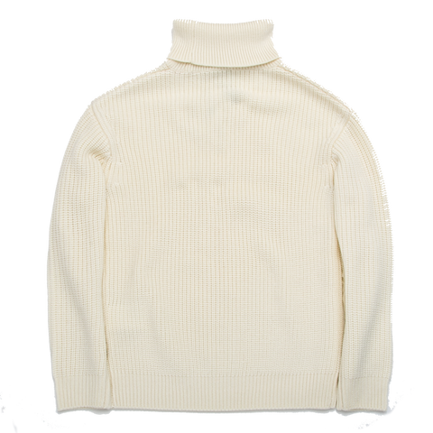 Cassidagne Polo Neck Cable Knit Sweater, Ecru
