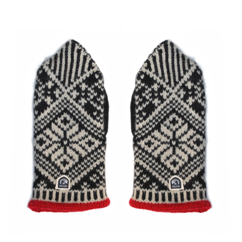 Nordic Wool Mittens, Black / Off-White
