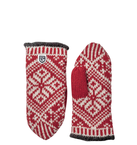Nordic Wool Mittens, Red/Off White