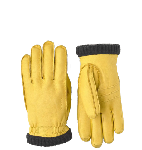 Deerskin Primaloft Ribbed Gloves, Natural Yellow