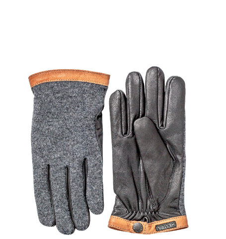 Deerskin Wool Tricot Gloves, Charcoal/Black
