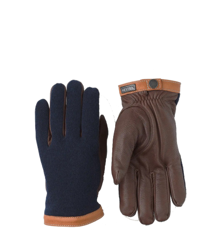 Deerskin Wool Tricot Gloves, Navy/Chocolate