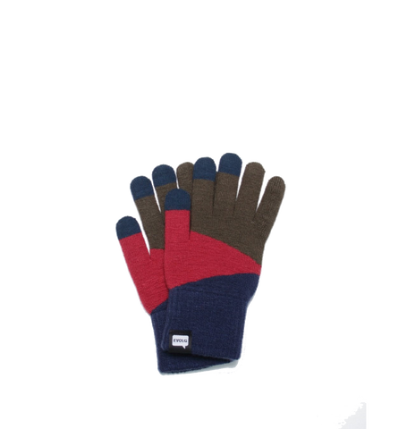 TORI-CO2 Knit Gloves, Navy/Red/Khaki