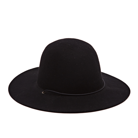 Felt Hat with Cord, Black