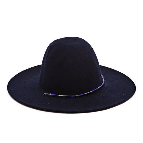 Felt Hat with Cord, Navy