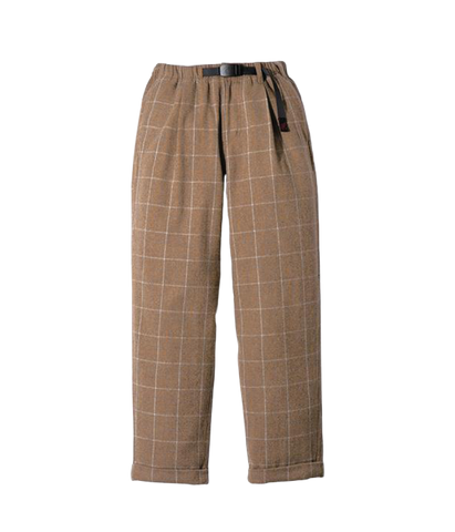 Wool Blend Tuck Tapered Pants, Glen Check Camel