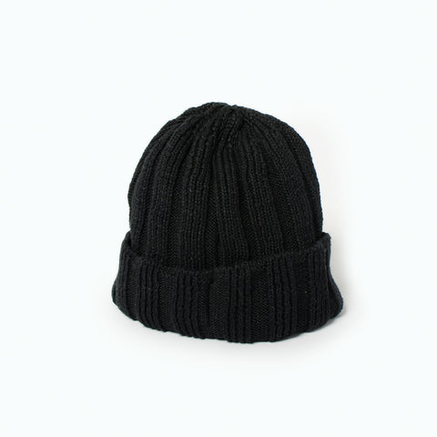 RoToTo Linen & Cotton Knit Cap (SS19), Black at Westerlind