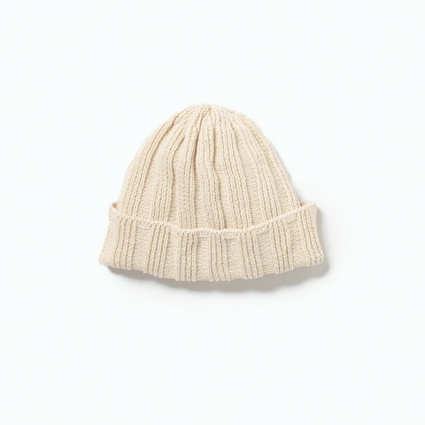 Linen & Cotton Knit Cap (SS19), Ivory