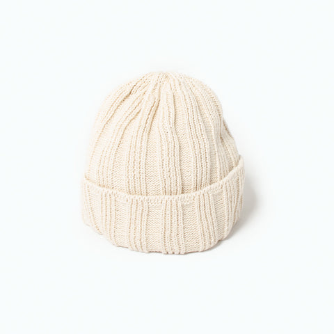 RoToTo Linen & Cotton Knit Cap (SS19), Ivory at Westerlind