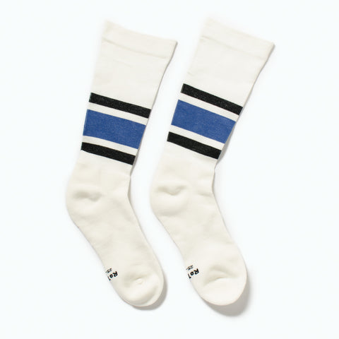 "RoToTo Daily Compression Socks ""Old School Stripe"", Black / Blue at Westerlind"