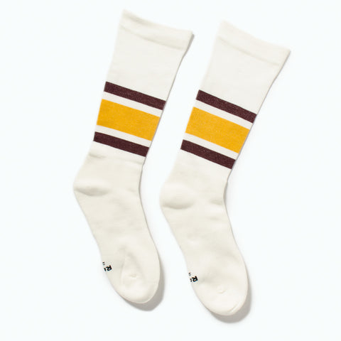 "RoToTo Daily Compression Socks ""Old School Stripe"", Yellow / Burgundy at Westerlind"