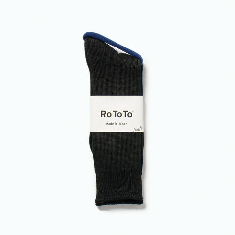 Linen Cotton Rib Socks, Black
