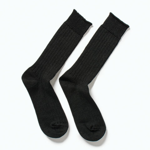 RoToTo Linen Cotton Rib Socks, Black at Westerlind