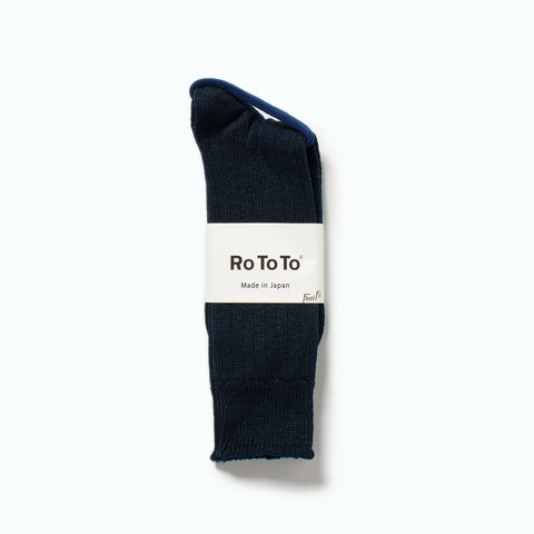 Linen Cotton Rib Socks, Navy