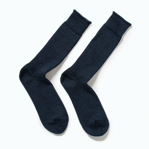 RoToTo Linen Cotton Rib Socks, Navy at Westerlind